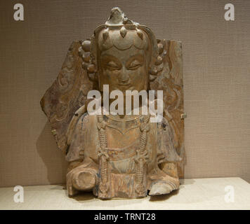 Gilded Stone Statue of Left Attendant Bodhisattva. 534 AD-550 AD(Eastern Wei Dynasty) Unearthed in Longxing Temple in Qingzhou, Shandong, China, 1996 - Stock Image