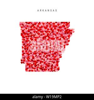 I Love Arkansas. Red and Pink Hearts Pattern Vector Map of Arkansas Isolated on White Background. - Stock Image