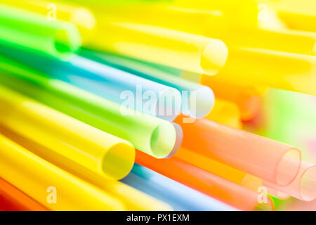 Macro Of A Bunch Colored Drinking Straws - Stock Image