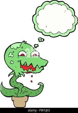 freehand drawn thought bubble cartoon monster plant - Stock Image