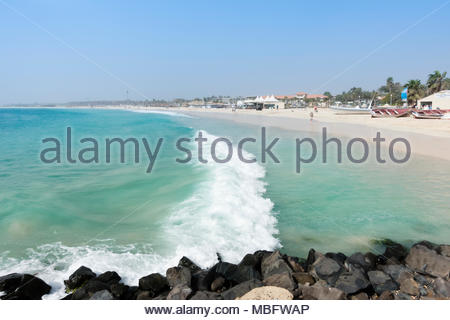 beach view from the Pier, Santa Maria, Sal, Cape Verde - Stock Image