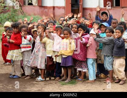 Malagasy School Children From a Farming Community Near Lake Tritriva, Madagascar, Africa. - Stock Image