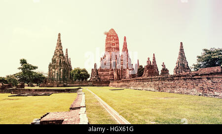 Vintage style, Wat Chaiwatthanaram is ancient buddhist temple, famous and major tourist attraction religious of - Stock Image