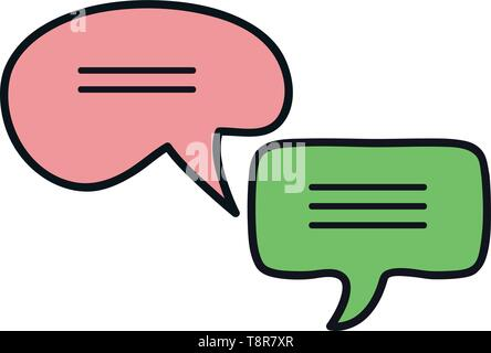 speech bubbles messages icons vector illustration design - Stock Image