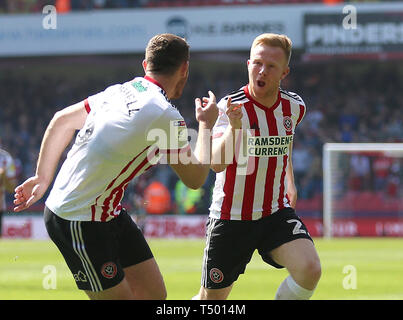 Sheffield United's Mark Duffy (right) celebrates scoring his side's first goal of the game with Jack O'Connell during the Sky Bet Championship match at Bramall Lane, Sheffield. - Stock Image