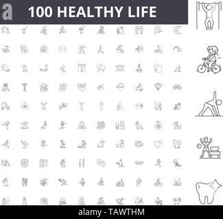 Healthy life line icons, signs, vector set, outline illustration concept  - Stock Image