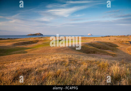 North Berwick Golf Club course view with Bass Rock. - Stock Image