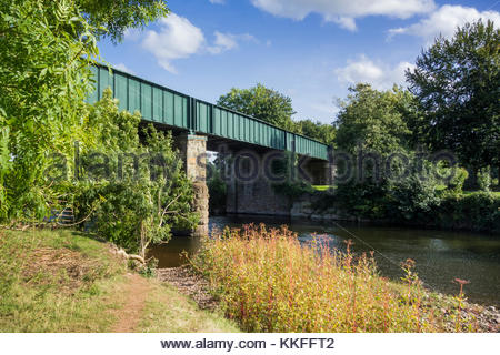 A plate girder railway bridge over the River Usk at The Bryn, Llanvihangel Gobion, Monmouthshire, Wales, UK - Stock Image