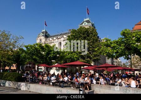 Switzerland Zurich, lake promenade , people , Pumpy bar, street cafe - Stock Image