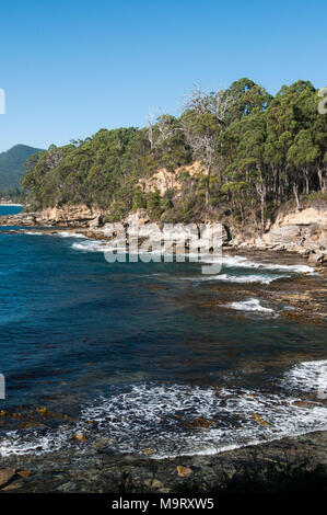 Adventure Bay, Bruny Island, Tasmania, Australia. European navigators landed their vessels nearby from the late 18th century onwards. - Stock Image