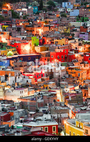 The town of Guanajuato, Mexico at night from a nearby hill. - Stock Image