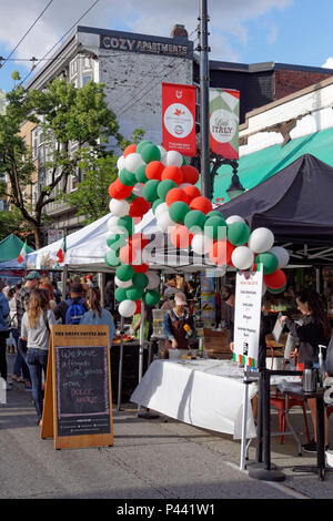 Outdoor coffee stand at  Italian Day 2018 celebrations on Commercial Drive, Vancouver, BC, Canada - Stock Image