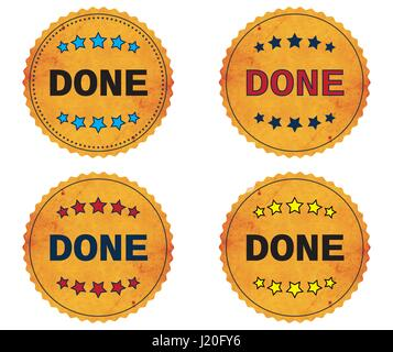 DONE text, on round wavy border vintage stamp badge, in color set. - Stock Image