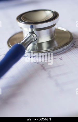 Medical concept with stethoscope and ecg chart - Stock Image