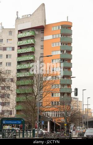 Germany, Berlin. Graffiti tags on side of building. Credit as: Wendy Kaveney / Jaynes Gallery / DanitaDelimont.com - Stock Image