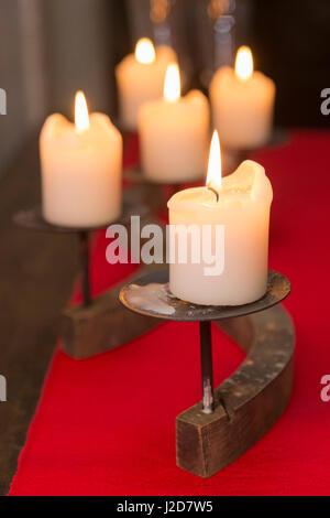 Europe, Czech Republic, Prague. Close-up of burning candles. Credit as: Wendy Kaveney / Jaynes Gallery / DanitaDelimont.com - Stock Image