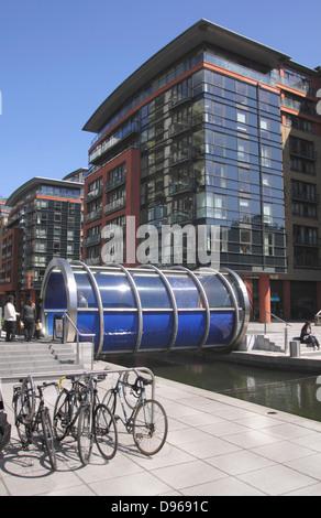 Helix footbridge at Paddington Basin London - Stock Image