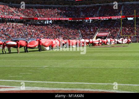 Salute to Service at Levi's Stadium in Santa Clara, California, on Nov. 12 during the San Francisco 49ers vs. - Stock Image