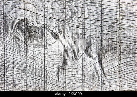 Grooved pattern in a natural weathered wooden surface - Stock Image
