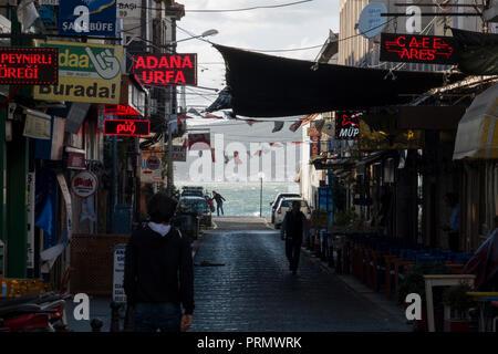 Shopping street in Ayvalik, Turkey - Stock Image