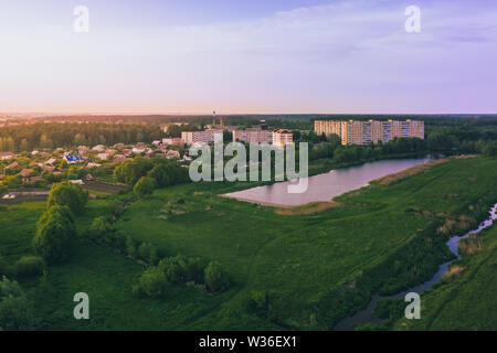 The sleeping area of a small Belarusian town located in the fields near the lakes - Stock Image