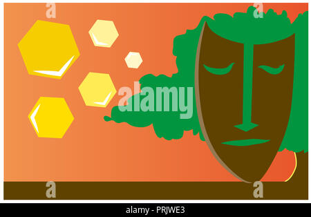 illustration of Africa.  illustration of a view of nature and African mask. - Stock Image