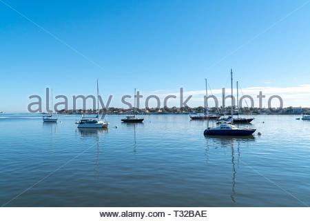 Boats sit at anchorage on Matanzas Bay at St Augustine, Florida USA - Stock Image