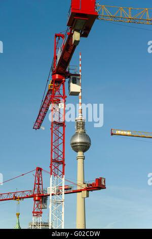 Cranes and TV-Tower near Alexanderplatz, Berlin - Stock Image