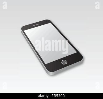 Smartphone lying on grey surface - Stock Image