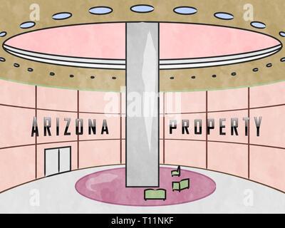 Arizona Property Indoors Shows Real Estate Broker In Az United States 3d Illustration - Stock Image
