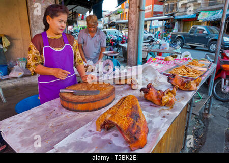 Pig meat stall, Wet and dry market, Trang, Thailand - Stock Image