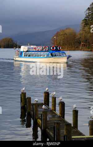 Miss Cumbria II, cruise ship of the Windermere Lake Cruises company, Bowness on Windermere, Lake District, Cumbria, England - Stock Image