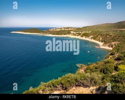 Thasos Island coastline aerial view panorama - Stock Image