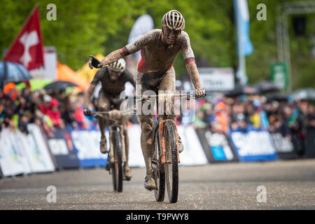 Mathieu van der Poel of Netherlands celebrates second place at the XC men race of UCI MTB World Cup in Albstadt, Germany, May 19, 2019. (CTK Photo/Mic - Stock Image
