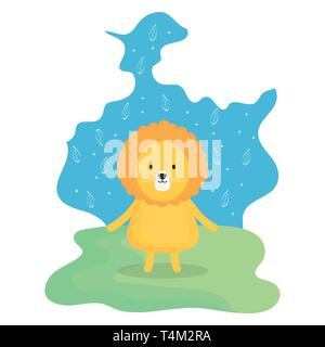 cute lion adorable character vector illustration design - Stock Image