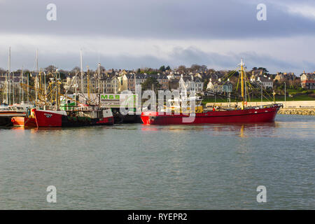 14 January 2017 Trawlers from Kilkeel iberthed at the harbour in Bangor Co Down Northern Ireland while taking on supplies. - Stock Image