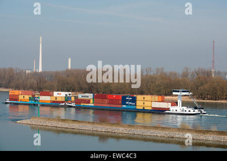 Container barge, river Rhine, Cologne, Germany. - Stock Image