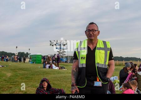Stonehenge, Amesbury, UK, 21st June 2018,   Marshal at the summer solstice  Credit: Estelle Bowden/Alamy Live News. - Stock Image