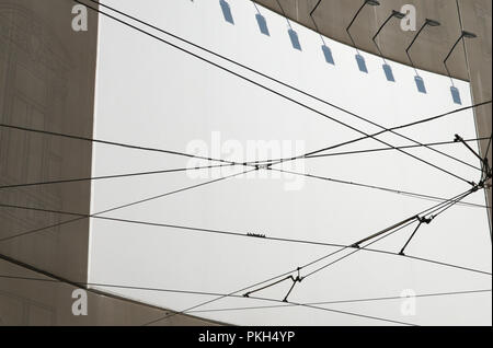 empty billboard and tram cables in Milan - Stock Image