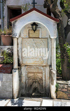 Old water supply in the Monastery of Evangelistria, Skopelos, Northen Sporades Greece. - Stock Image