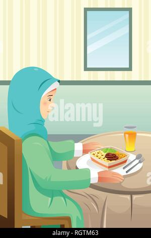 A vector illustration of Muslim Eating Meal at Home - Stock Image