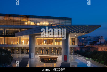 The main entrance of the Acropolis museum at night - Stock Image