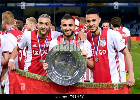 L-R Hakim Ziyech (Ajax) Zakaria Labyad (Ajax) en Noussair Mazraoui (Ajax) Football Dutch Premier Division 2018/2019 De Graafschap 1-4 Ajax on May 15, 2019at the Vijverberg Stadium in Doetinchem, The Netherlands Credit: Sander Chamid/SCS/AFLO/Alamy Live News - Stock Image