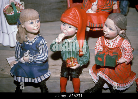 Christmas figurines boys and girls in Norway - Stock Image