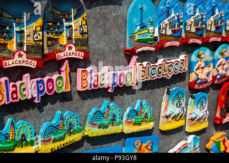 UK, England, Lancashire, Blackpool, South Pier, colourful souvenirs on display - Stock Image