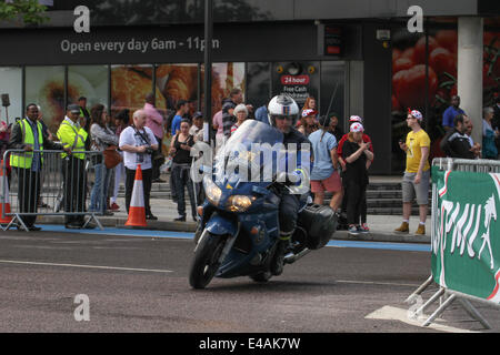 London, UK. 07th July, 2014. A Gendarmerie motorcycle rides seen on the Tour route in Newham. Credit:  Credit:  - Stock Image