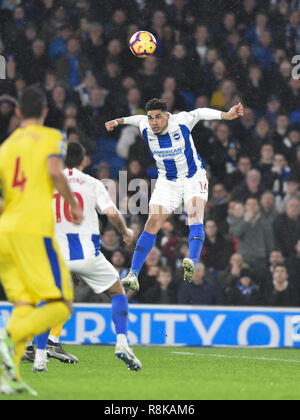 Leon Balogun of Brighton heads goal wards during the Premier League match between Brighton & Hove Albion and Crystal Palace at the Amex Stadium . 04 December 2018 Photograph taken by Simon Dack  Editorial use only. No merchandising. For Football images FA and Premier League restrictions apply inc. no internet/mobile usage without FAPL license - for details contact Football Dataco - Stock Image