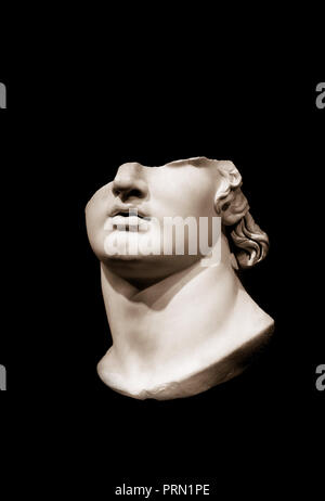 Ancient Greek sculpture of a youth, fragment. - Stock Image