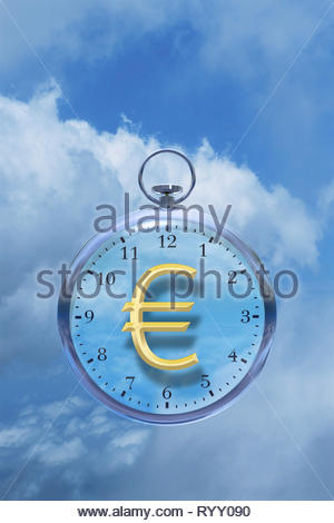 Time is money time management time cost watch with Euro € sign in the clouds. - Stock Image