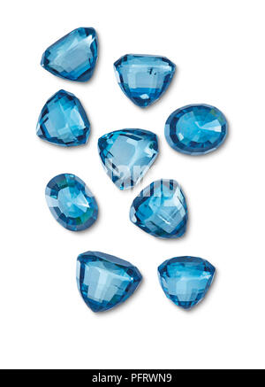 Gem Zircon Cut Blue Multiple Group 43 Carats Total, Approx 4-5mm Each - Stock Image